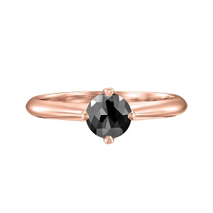 טבעת יהלום שחור סוליטר בזהב ורוד 1.00 קרט דגם קורה