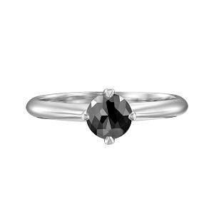 טבעת יהלום שחור סוליטר בזהב לבן 1.00 קרט דגם קורה