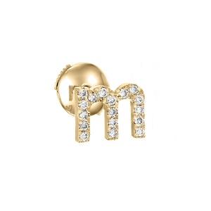 עגיל פירסינג זהב צהוב באות M - אותיות באנגלית יהלומים