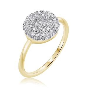 טבעת יהלומים לבנים זהב צהוב דגם Berry W